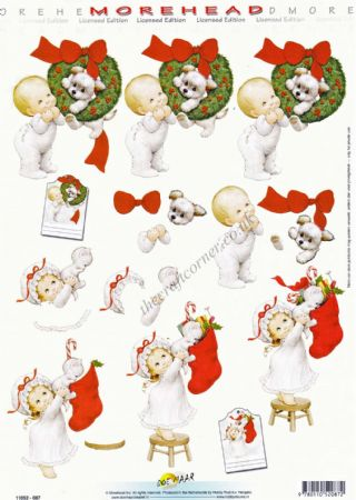 Morehead Christmas Children Opening Stockings 3D Decoupage Craft Sheet